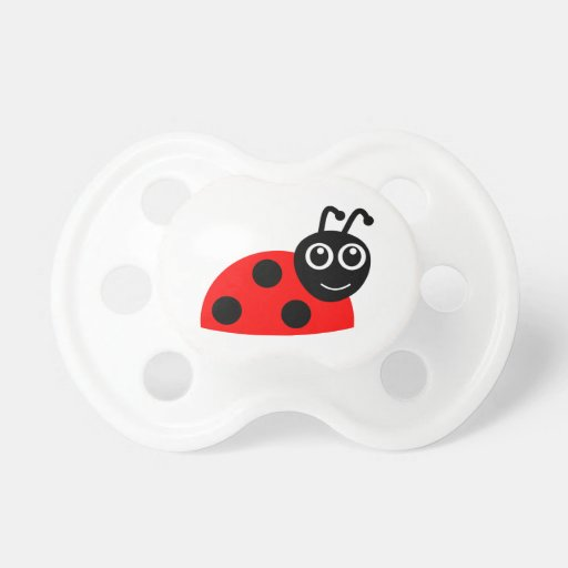 Cute Smiling Ladybug Cartoon Baby Pacifiers