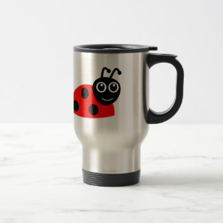 Cute Smiling Ladybug Cartoon Travel Mug