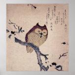 Cute Smiling Owl Japanese Print