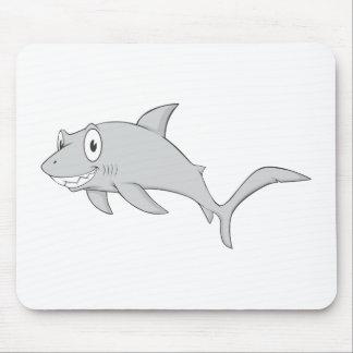 Cute Smiling Shark Happy Cartoon Shirt Mouse Pads