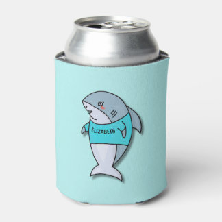 Cute Smiling Shark In Cool Shirt Funny Can Cooler