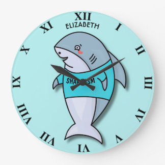 Cute Smiling Shark In Cool Shirt Funny Large Clock