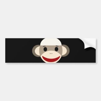 Cute Smiling Sock Monkey Face on Red Black Bumper Sticker