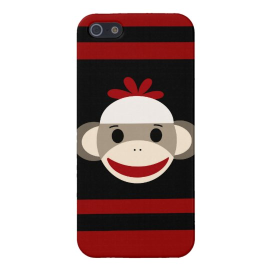 Cute Smiling Sock Monkey Face on Red Black