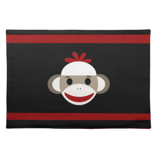 Cute Smiling Sock Monkey Face on Red Black Placemat