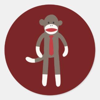Cute Smiling Sock Monkey with Tie Sticker
