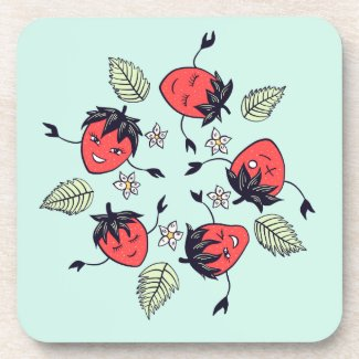 Cute Smiling Strawberry Characters Fun Cartoon Coaster