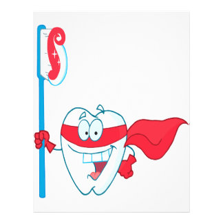 Cute Smiling Superhero Tooth With Toothbrush 21.5 Cm X 28 Cm Flyer