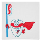 Cute Smiling Superhero Tooth With Toothbrush Poster