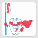 Cute Smiling Superhero Tooth With Toothbrush Square Stickers