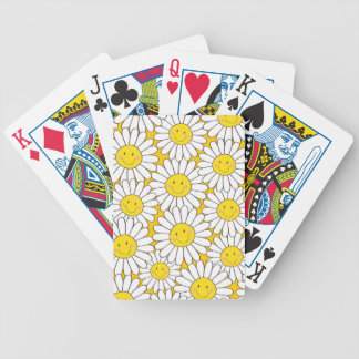 Cute Smiling White Daisy Pattern Bicycle Playing Cards