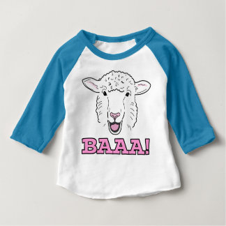 Cute Smiling White Sheep Face Illustration Baaa! Baby T-Shirt