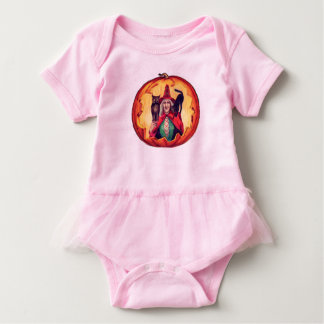 Cute Smiling Witch Owl Black Cat Baby Bodysuit