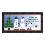 Cute S'mores Couple with Dog Christmas Card Customised Photo Card