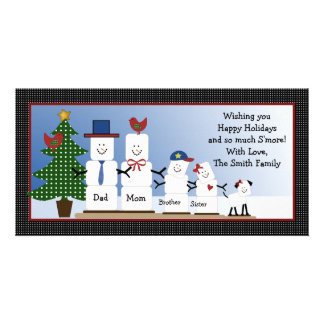 Cute S'mores Family with Dog Christmas Card Picture Card