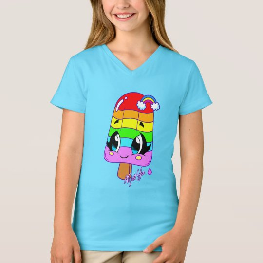 Cute Snack Art Girl V-neck Shirt for Kids