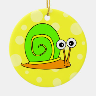 Cute Snail Cartoon Green with Yellow Background Christmas Ornament