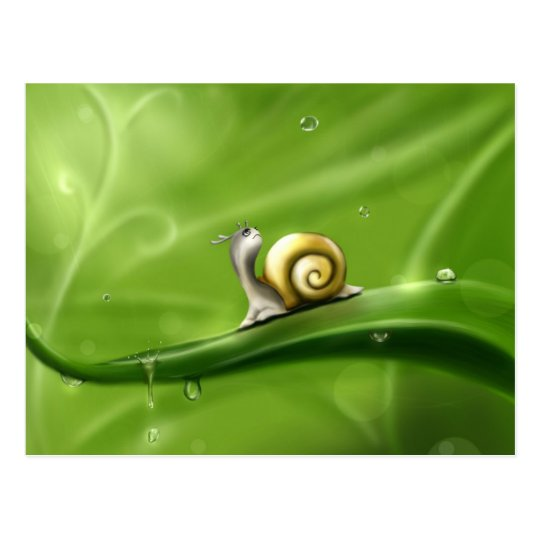 Cute Snail in the Rain Postcard