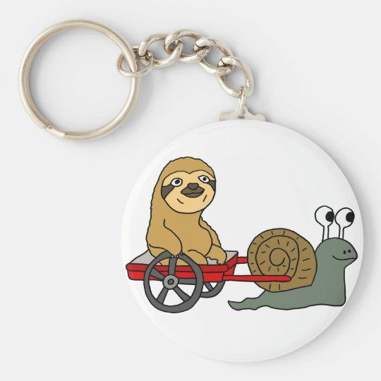 Cute Snail Pulling Sloth in Red Wagon Key