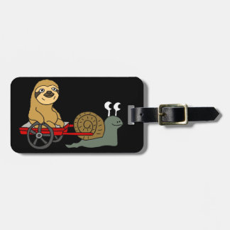 Cute Snail Pulling Sloth in Red Wagon Luggage Tag