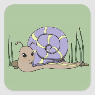 Cute snail square sticker