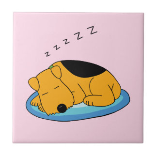 Cute Snoring Airedale Terrier Dog Ceramic Tile