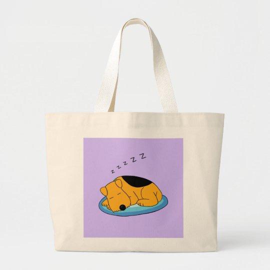Cute Snoring Airedale Terrier Dog Jumbo Tote Bag