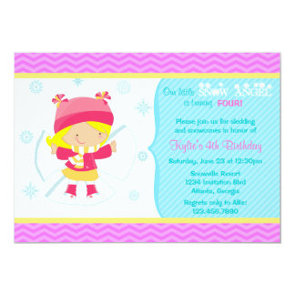 Cute Snow Angel Kids Winter Birthday Party Card