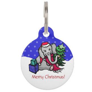 Cute Snow Christmas Elephant with Emergency Info Pet Name Tag