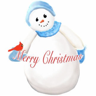Cute Snow Girl Merry Christmas Ornament Cut Out