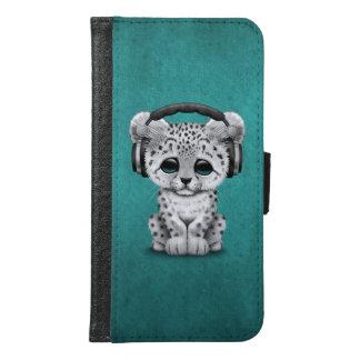 Cute Snow leopard Cub Dj Wearing Headphones Blue Samsung Galaxy S6 Wallet Case