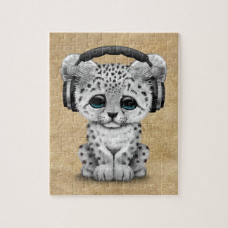 Cute Snow leopard Cub Dj Wearing Headphones Jigsaw Puzzle