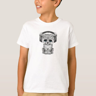 Cute Snow leopard Cub Dj Wearing Headphones T-Shirt