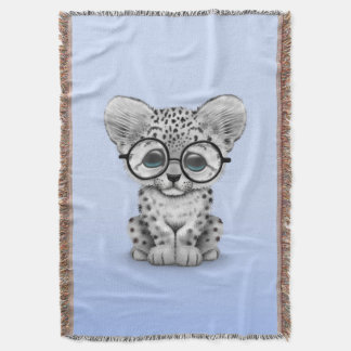 Cute Snow Leopard Cub Wearing Glasses on Blue Throw Blanket