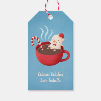 Cute Snow Man in Cup Warm Wishes Xmas Gift Tags