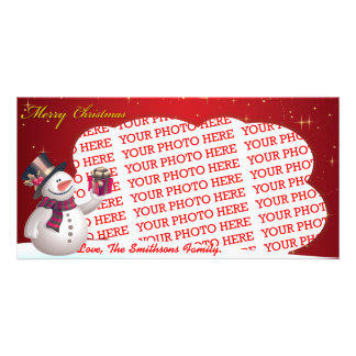 Cute Snow Man with Presents Template Personalized Photo Card