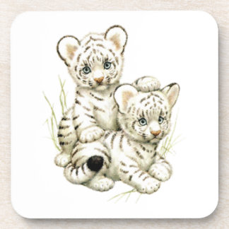 Cute Snow Tiger Cubs Coaster