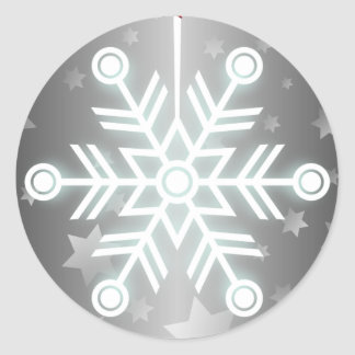 Cute Snowflake Ornament with Red Ribbon Round Sticker