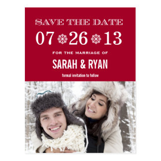 Cute Snowflake Red Save the Date Photo Postcards