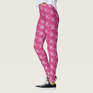 Cute snowflakes Pink Magenta Christmas Leggings