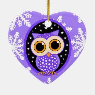cute snowflakes purple owl ceramic heart decoration