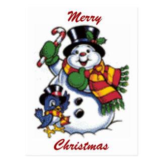 Cute Snowman And Bluebird Postcard
