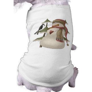 Cute Snowman and Crow Christmas Dog Shirt