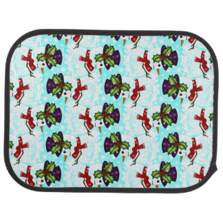 Cute Snowman and Hat Playing Snow Pattern Floor Mat