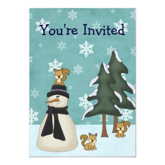 Cute Snowman and Squirrels Winter Birthday 13 Cm X 18 Cm Invitation Card
