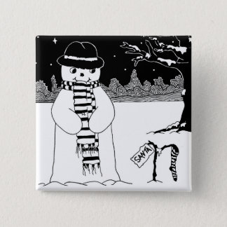 Cute snowman black and white Christmas button