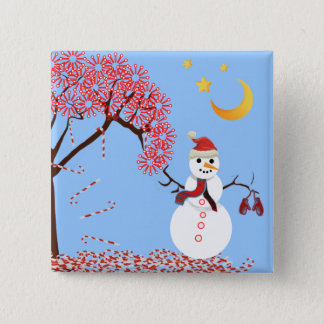 Cute Snowman Candy Cane Tree Magnet 15 Cm Square Badge