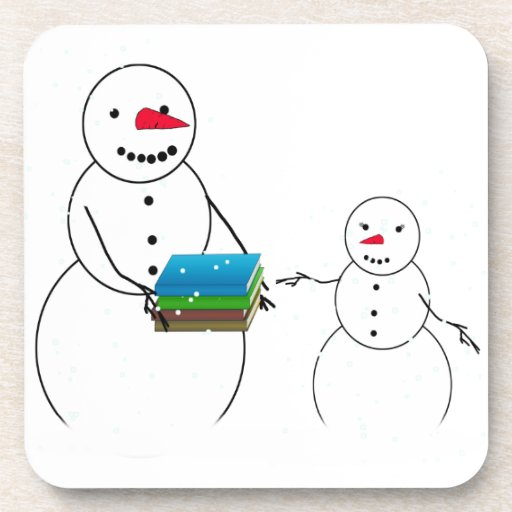 Cute Snowman & Child Back To School Drink Coaster