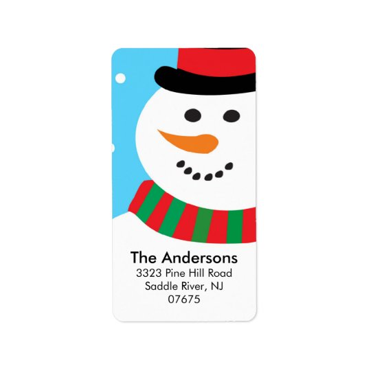 Cute Snowman Christmas Holiday Return Address Label