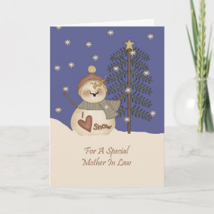Cute Snowman Christmas Mother In Law Holiday Card